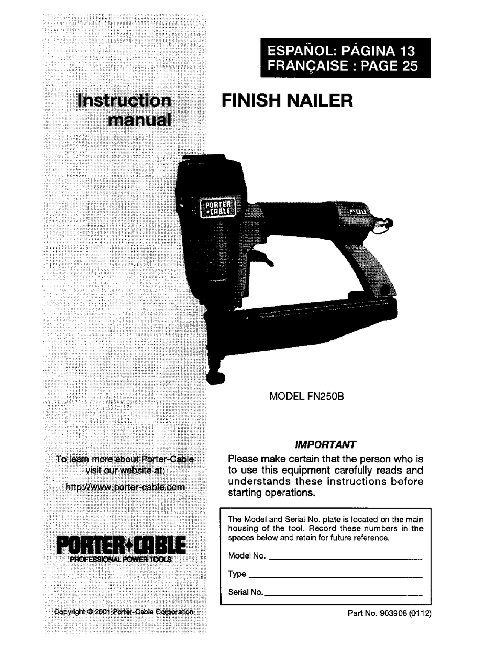 Fn250b : fn250b, PORTER-CABLE, FN250B, INSTRUCTION, MANUAL, Download, ManualsLib