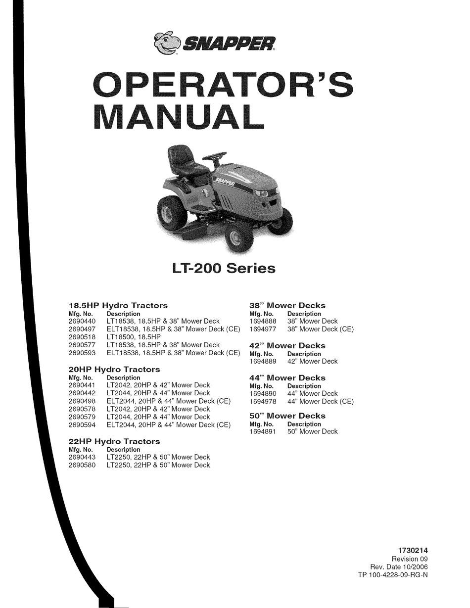 SNAPPER LT-200 SERIES OPERATOR'S MANUAL Pdf Download