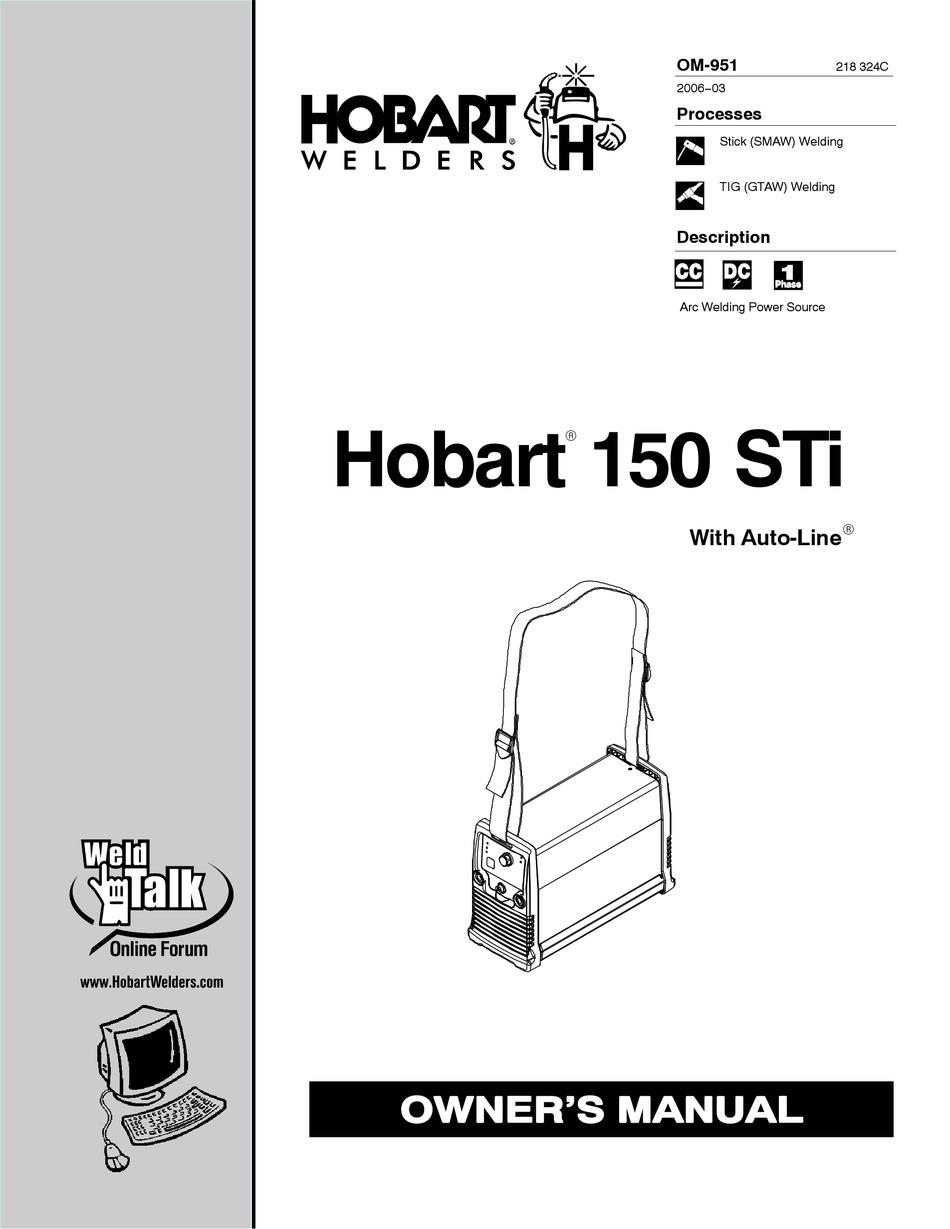 HOBART WELDING PRODUCTS HOBART 150 STI OWNER'S MANUAL Pdf