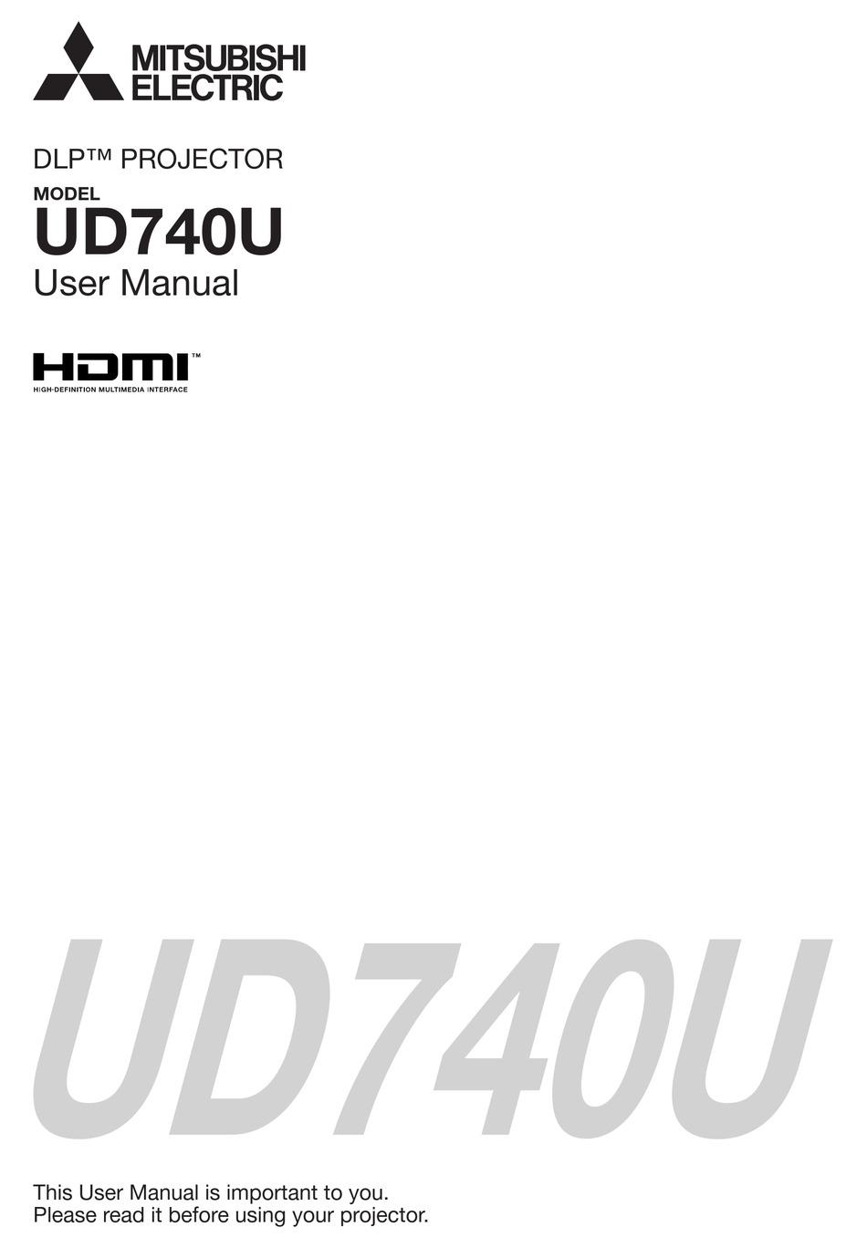 MITSUBISHI ELECTRIC DLP UD740U USER MANUAL Pdf Download