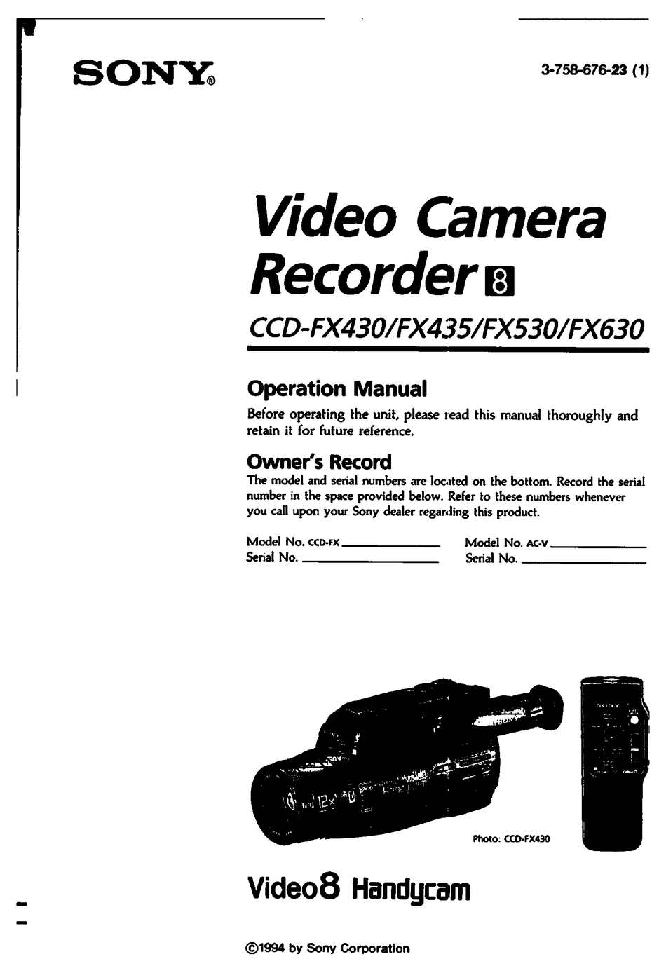SONY HANDYCAM CCD-FX430 OPERATION MANUAL Pdf Download