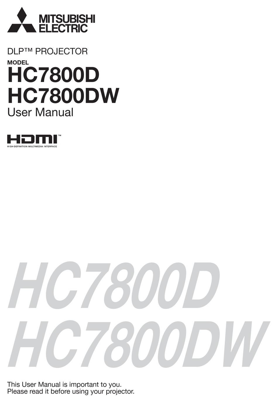 MITSUBISHI ELECTRIC DLP HC7800D USER MANUAL Pdf Download