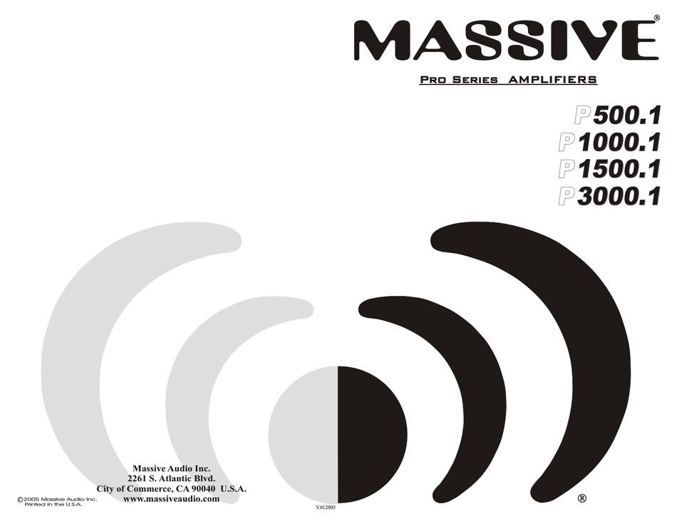MASSIVE AUDIO P1000.1 PRO SERIES INSTRUCTION MANUAL Pdf
