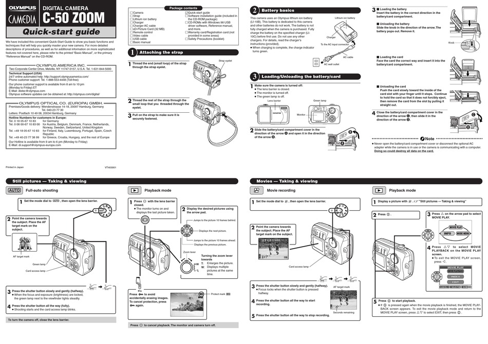 OLYMPUS CAMEDIA C-50 ZOOM QUICK START MANUAL Pdf Download