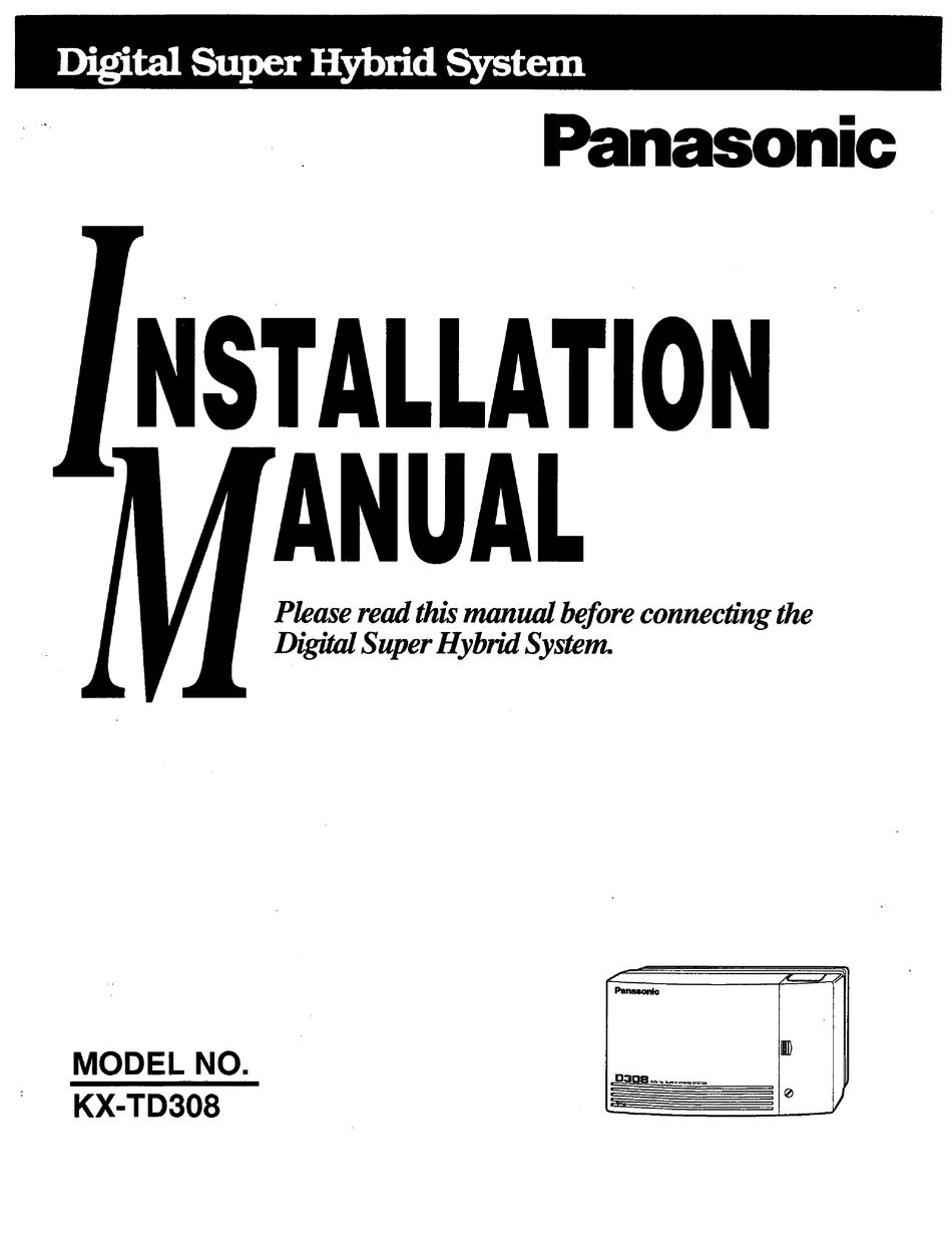 PANASONIC KX-TD308 INSTALLATION MANUAL Pdf Download