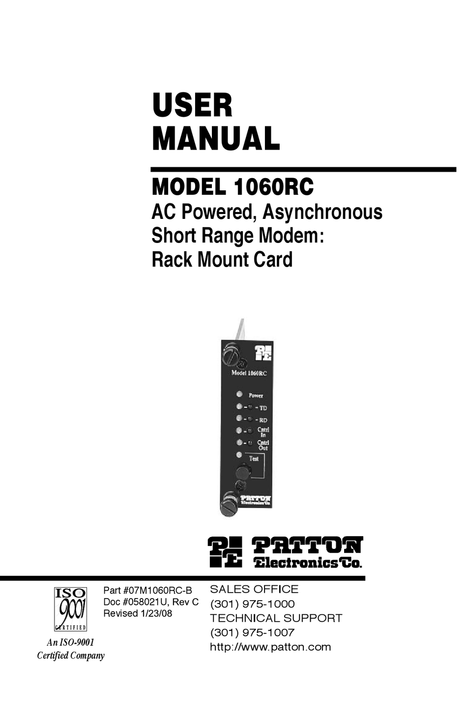 PATTON ELECTRONICS 1060RC USER MANUAL Pdf Download