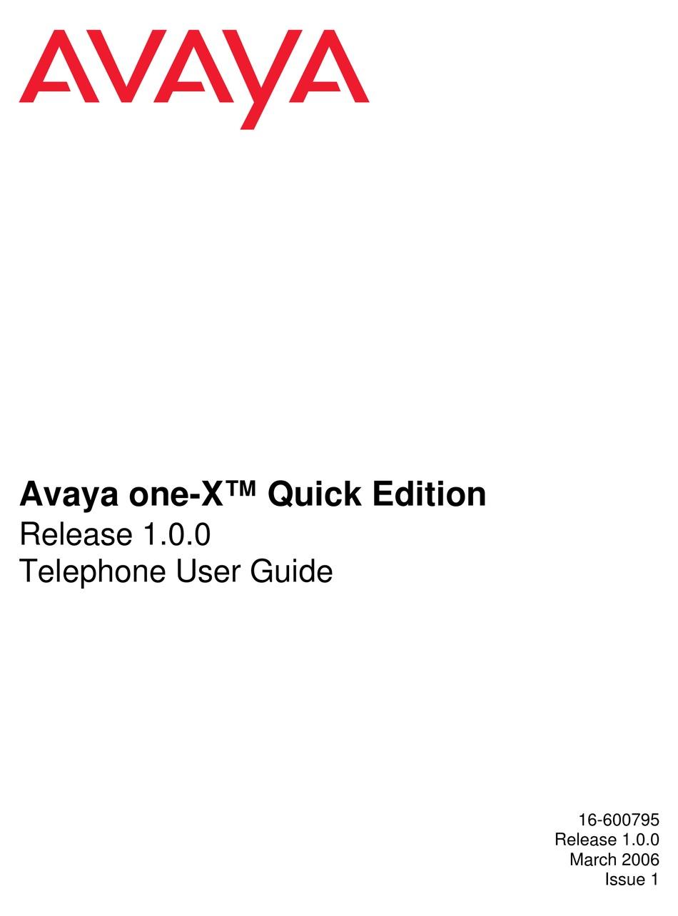AVAYA ONE-X QUICK EDITION USER MANUAL Pdf Download