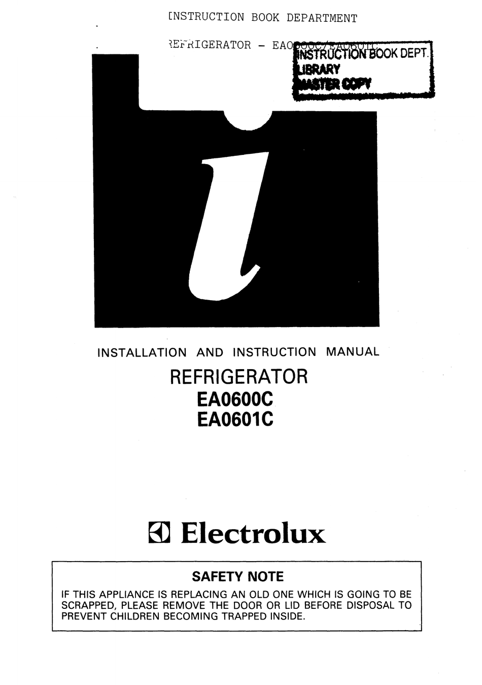 ELECTROLUX EA0601C INSTALLATION AND INSTRUCTION MANUAL Pdf