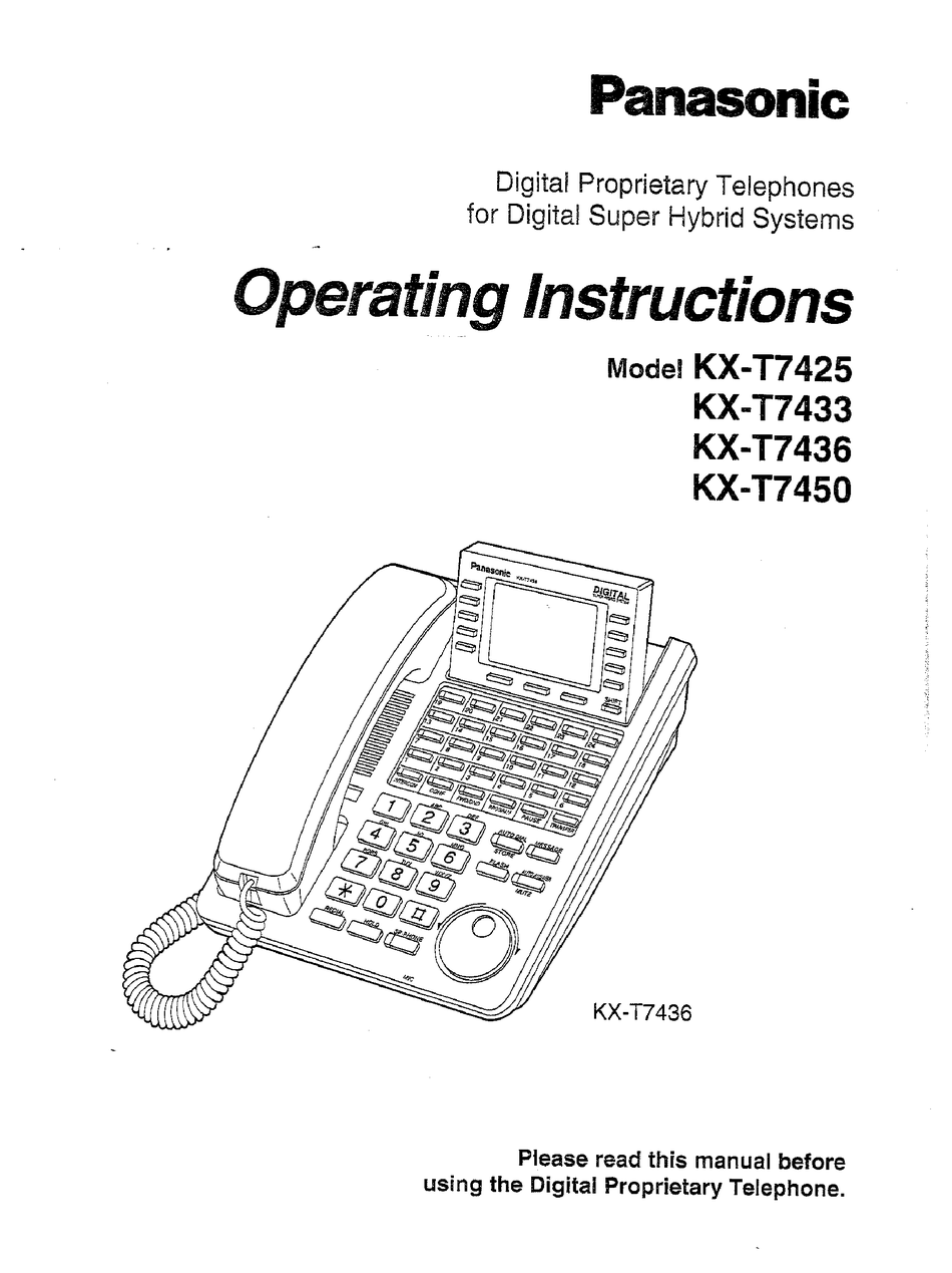 PANASONIC KX-T7433 OPERATING INSTRUCTIONS MANUAL Pdf
