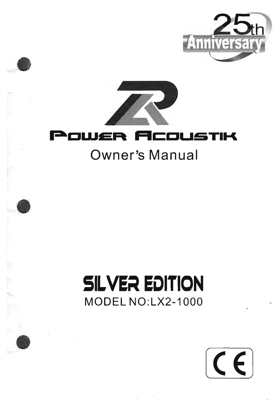 POWER ACOUSTIK LX2-2000 SILVER EDITION OWNER'S MANUAL Pdf