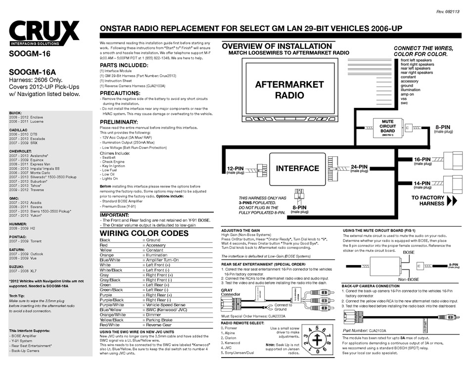 CRUX SOOGM-16 OVERVIEW OF INSTALLATION Pdf Download