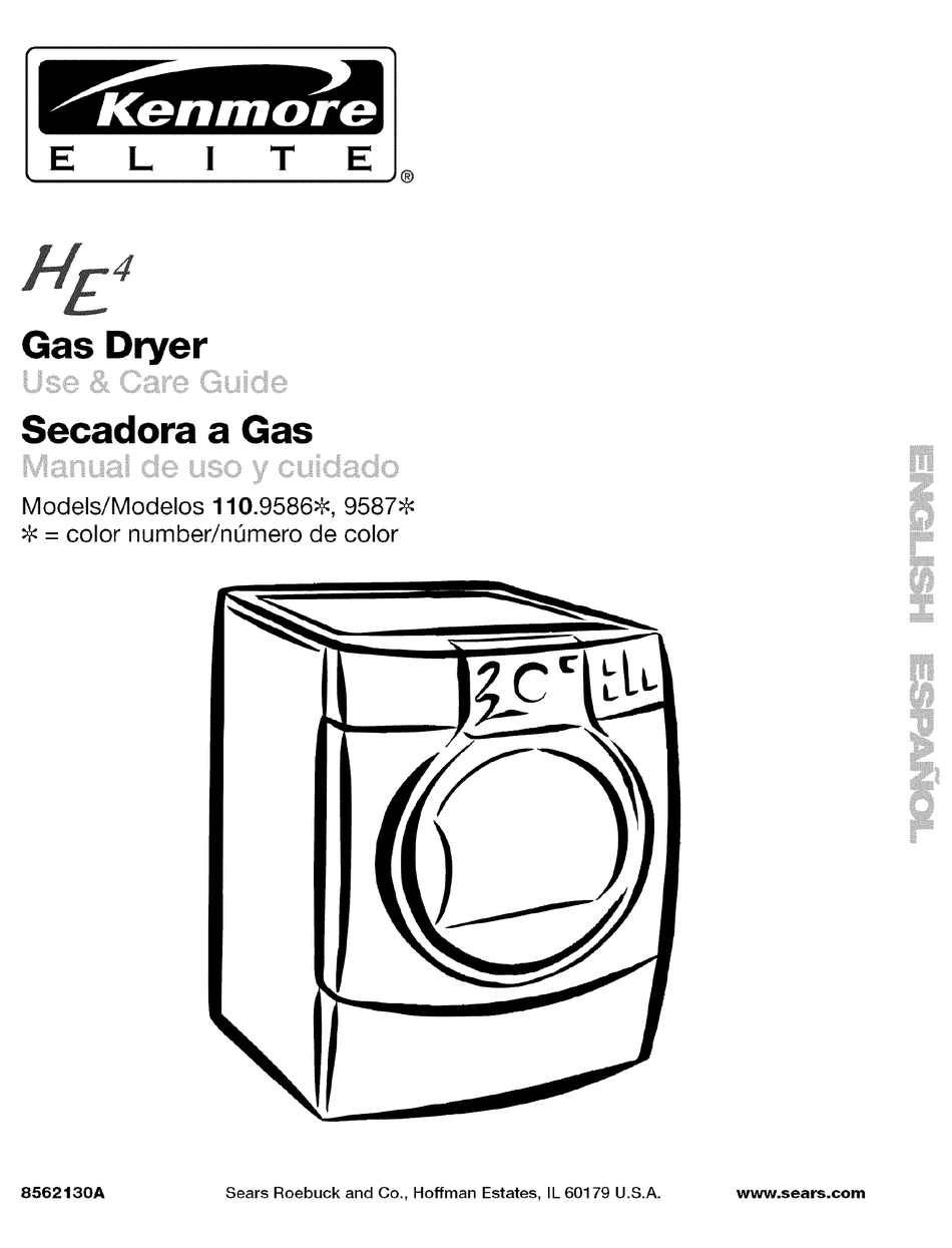 KENMORE HE4 GAS DRYER 110.9586 USE AND CARE MANUAL Pdf
