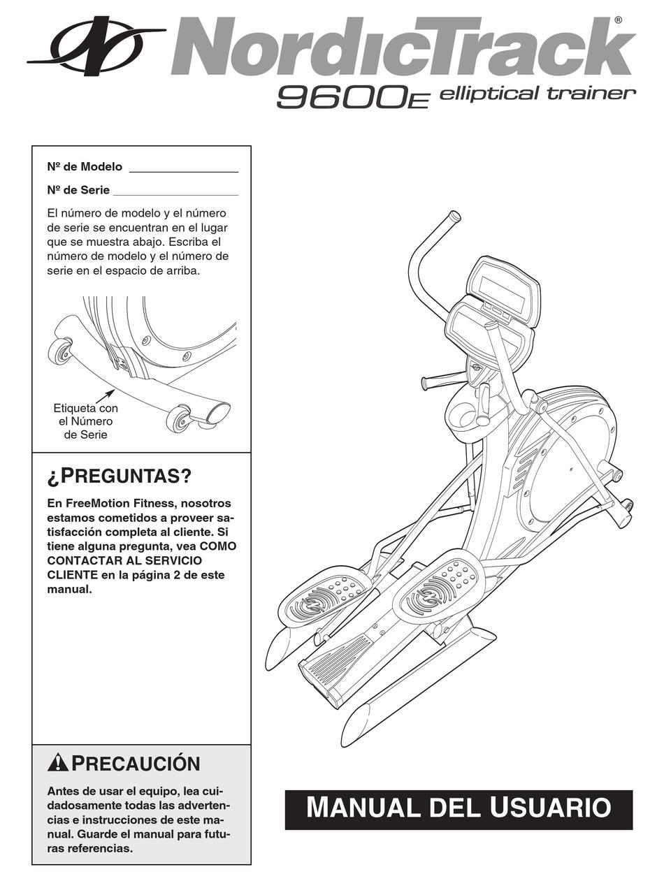 NORDICTRACK 9600 EL TRAINER DOM SPAN ELLIPTICAL MANUAL DEL