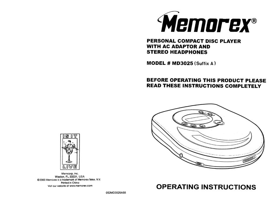 MEMOREX MD3025 OPERATING INSTRUCTIONS MANUAL Pdf Download