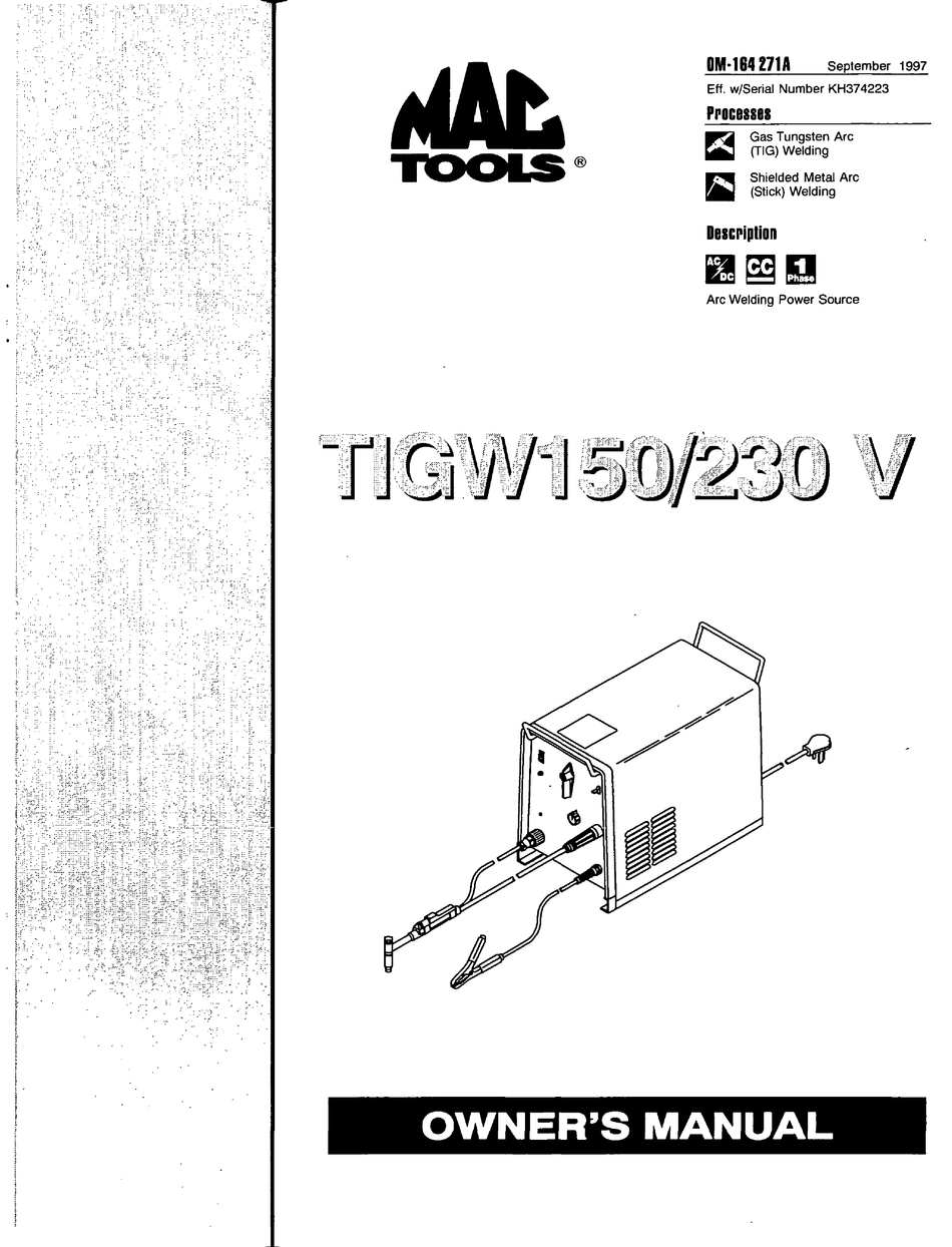 MAC TOOLS ?TIGW150/230 V OWNER'S MANUAL Pdf Download
