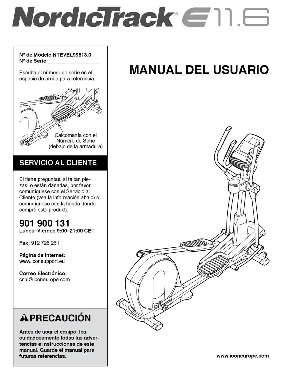 NORDICTRACK E 11.6 ELLIPTICAL MANUAL DEL USUARIO Pdf