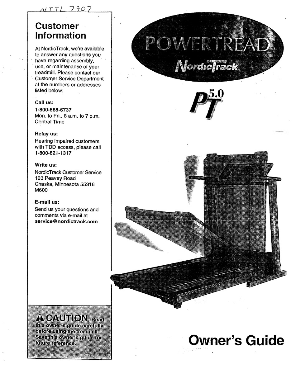 NORDICTRACK POWERTREAD 5.0 OWNER'S MANUAL Pdf Download
