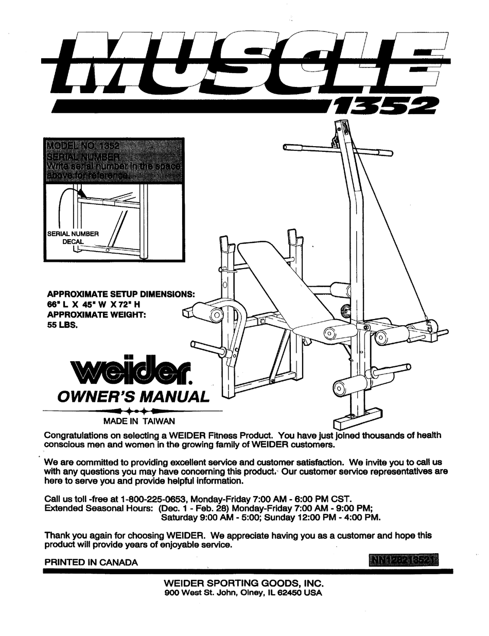 WEIDER MUSCLE 1352 BENCH OWNER'S MANUAL Pdf Download