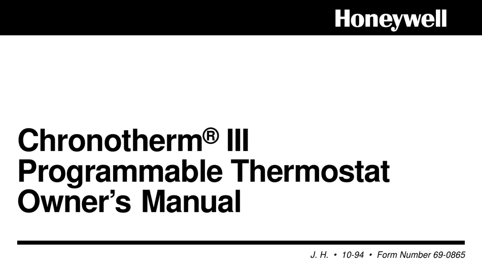 HONEYWELL CHRONOTHERM III OWNER'S MANUAL Pdf Download