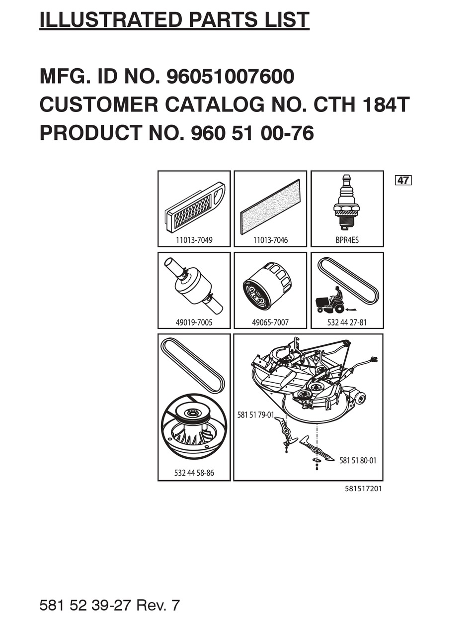 HUSQVARNA CTH 184T (96051007600) PARTS LIST Pdf Download