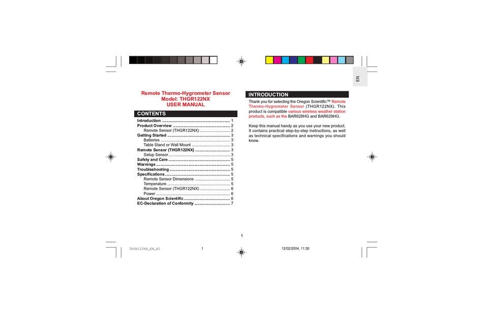 OREGON SCIENTIFIC THGR122NX USER MANUAL Pdf Download