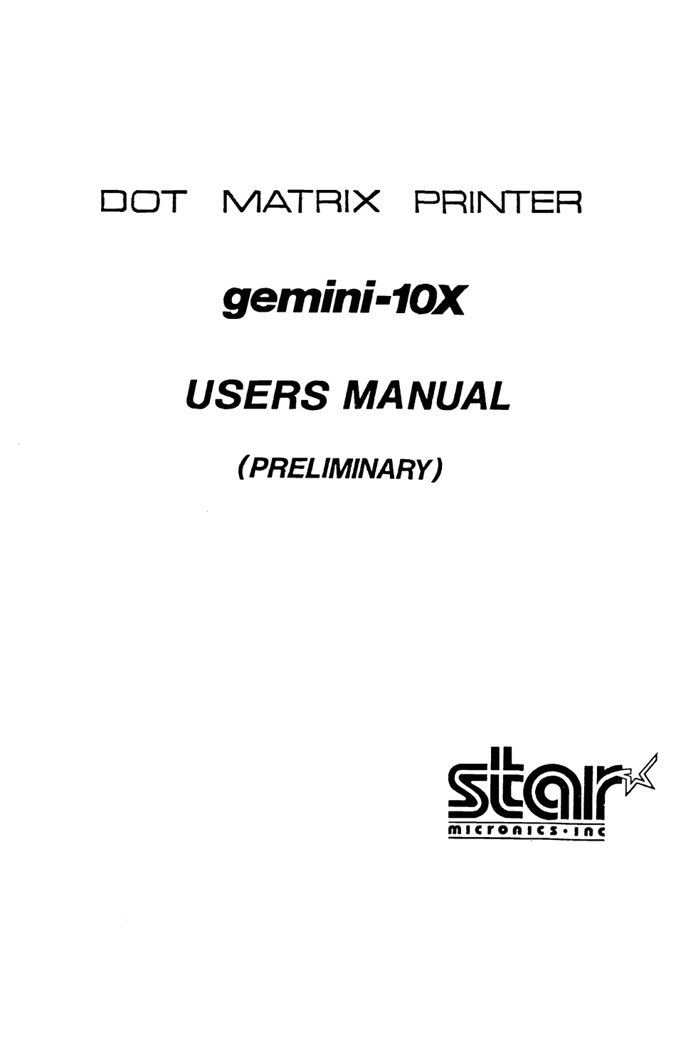 STAR MICRONICS GEMINI-10X USER MANUAL Pdf Download