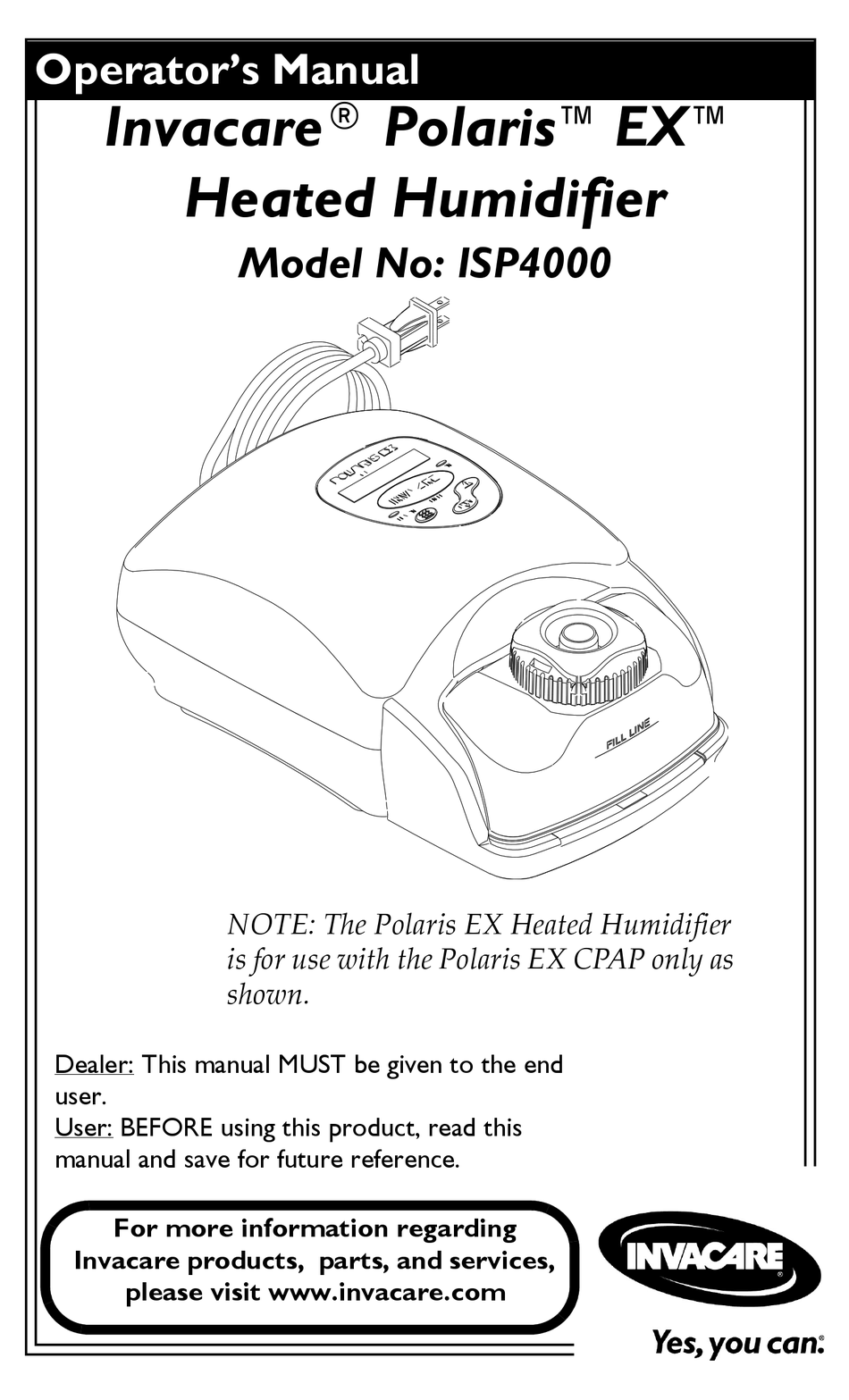 INVACARE POLARIS EX ISP4000 OPERATOR'S MANUAL Pdf Download