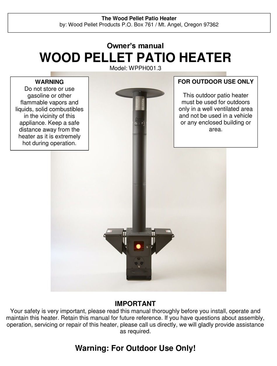 wood pellet products wpph001 3 owner s