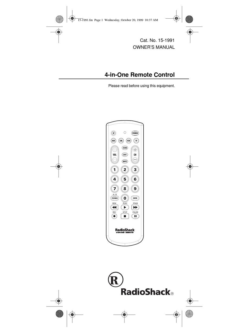 RADIO SHACK 4-IN-1 REMOTE CONTROL OWNER'S MANUAL Pdf