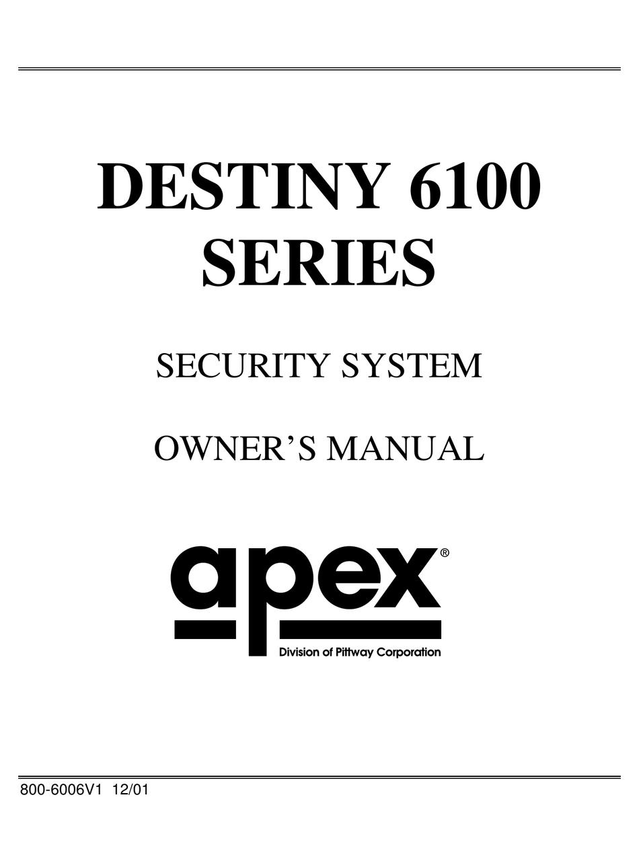 APEX DIGITAL DESTINY 6100 SERIES OWNER'S MANUAL Pdf