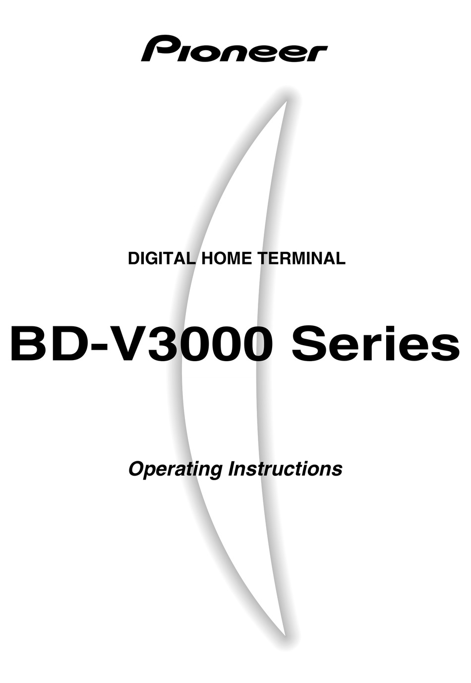 PIONEER BD-V3000 SERIES OPERATING INSTRUCTIONS MANUAL Pdf