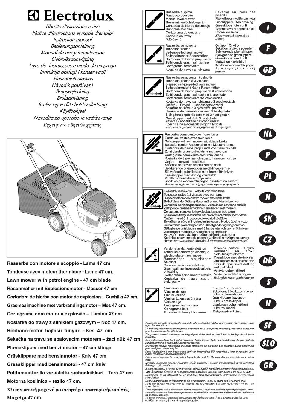 ELECTROLUX LAWN MOWER INSTRUCTION MANUAL Pdf Download