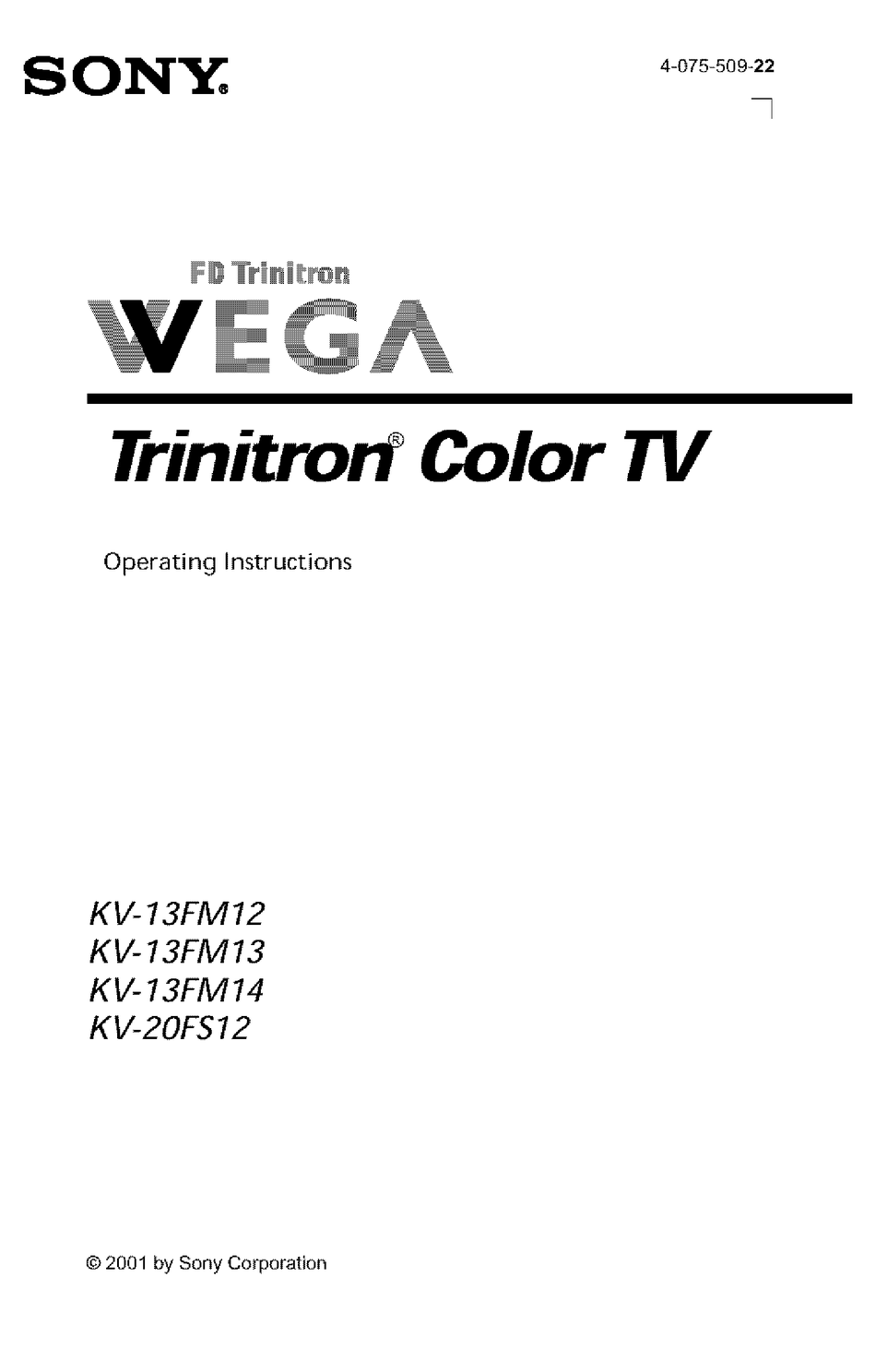 SONY FD TRINITRON WEGA KV-13FM14 OPERATING INSTRUCTIONS