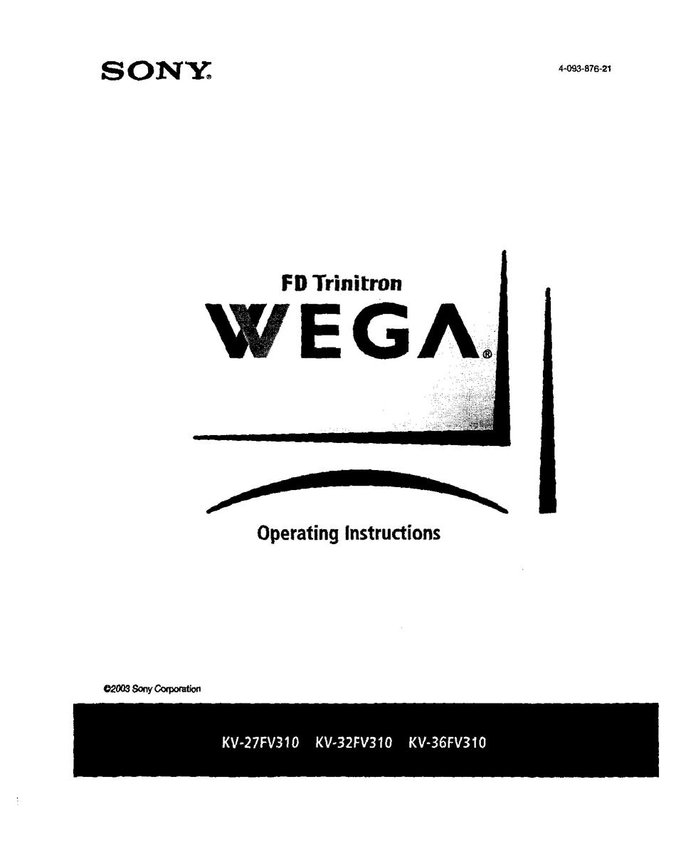 SONY FD TRINITRON WEGA KV-27FV310 OPERATING INSTRUCTIONS