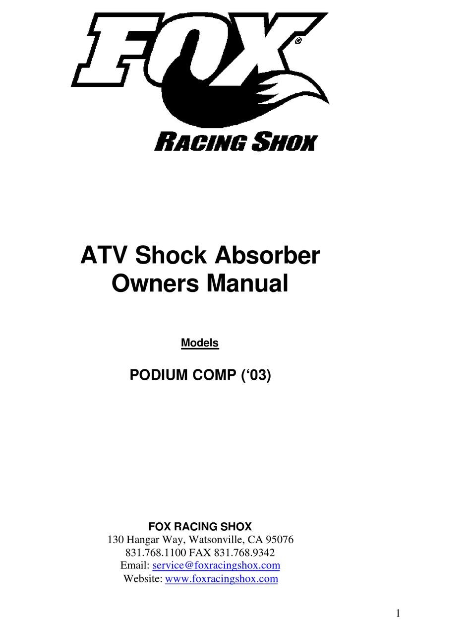 FOX RACING SHOX PODIUM COMP (03) OWNER'S MANUAL Pdf
