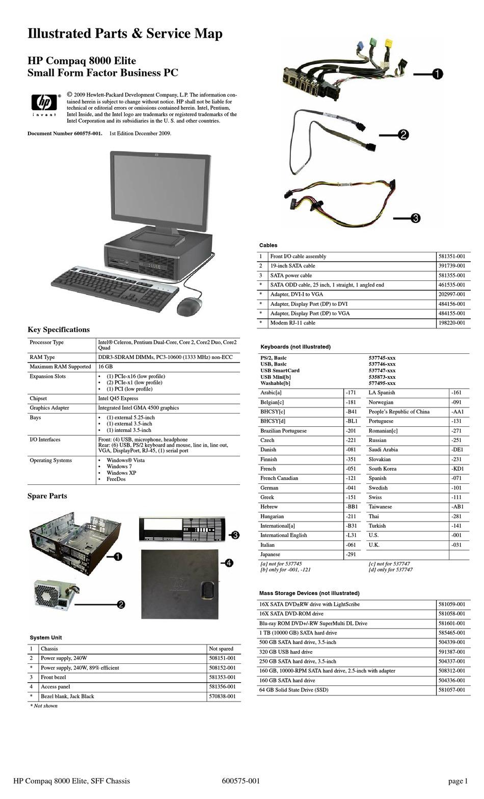 Hp compaq 8000 elite sff pc motherboard 101482-Hewlett