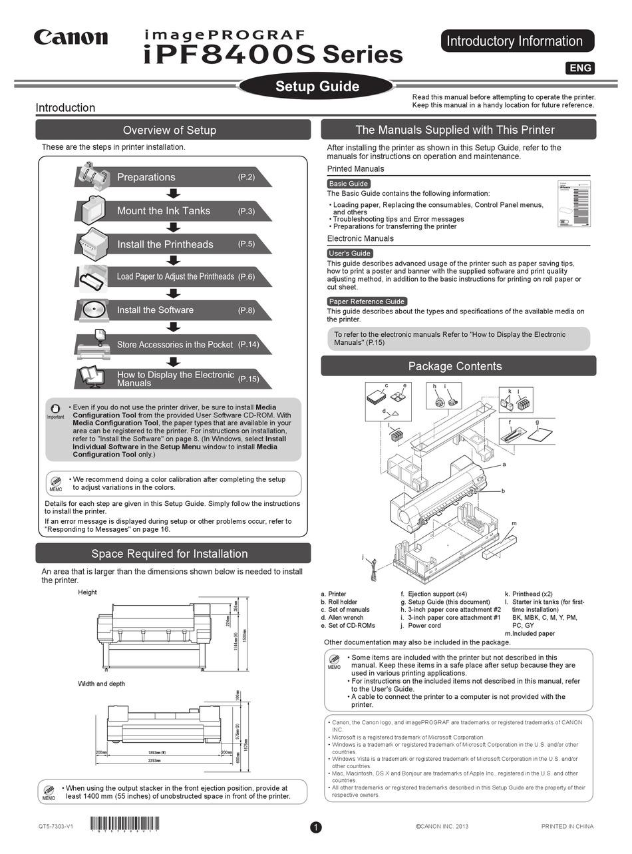 CANON IMAGEPROGRAF IPF8400S SERIES SETUP MANUAL Pdf