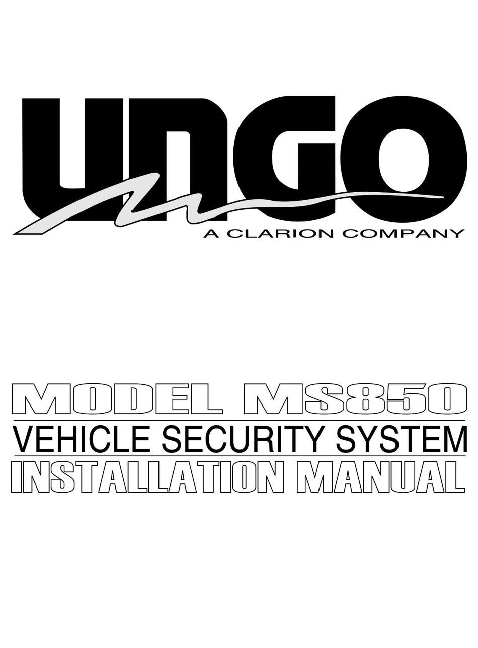 CLARION UNGO MS850 INSTALLATION MANUAL Pdf Download