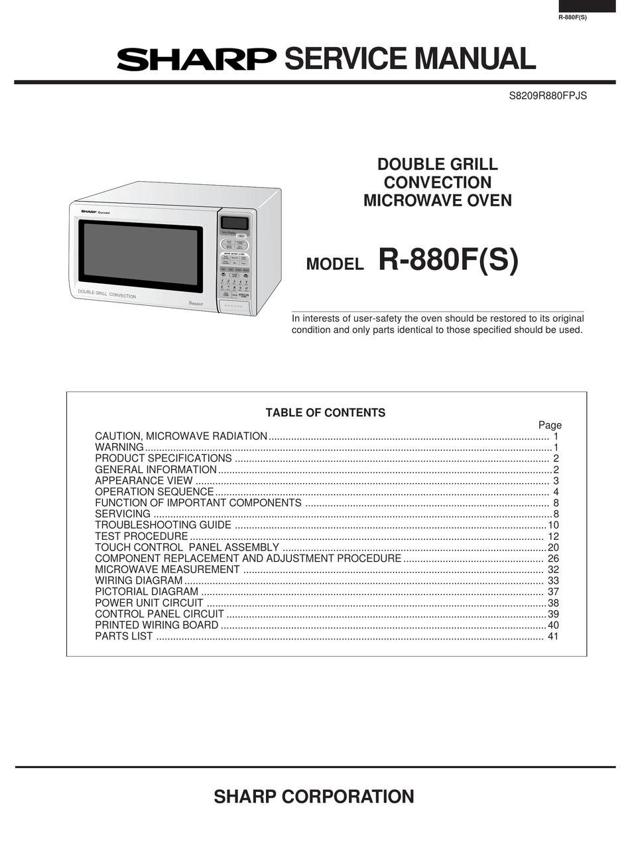 sharp r 880f service manual pdf