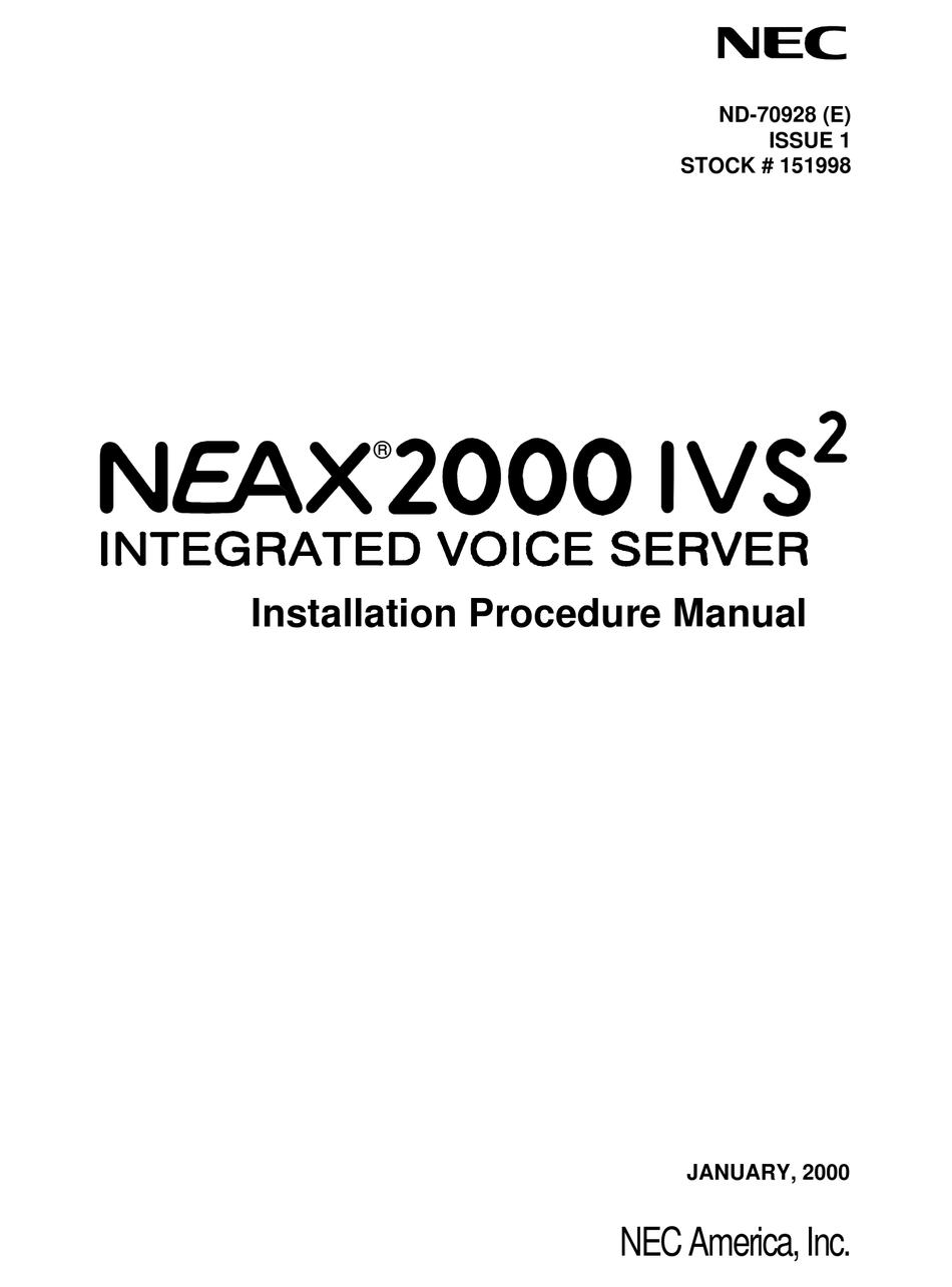 NEC NEAX 2000IVS2 INSTALLATION MANUAL Pdf Download