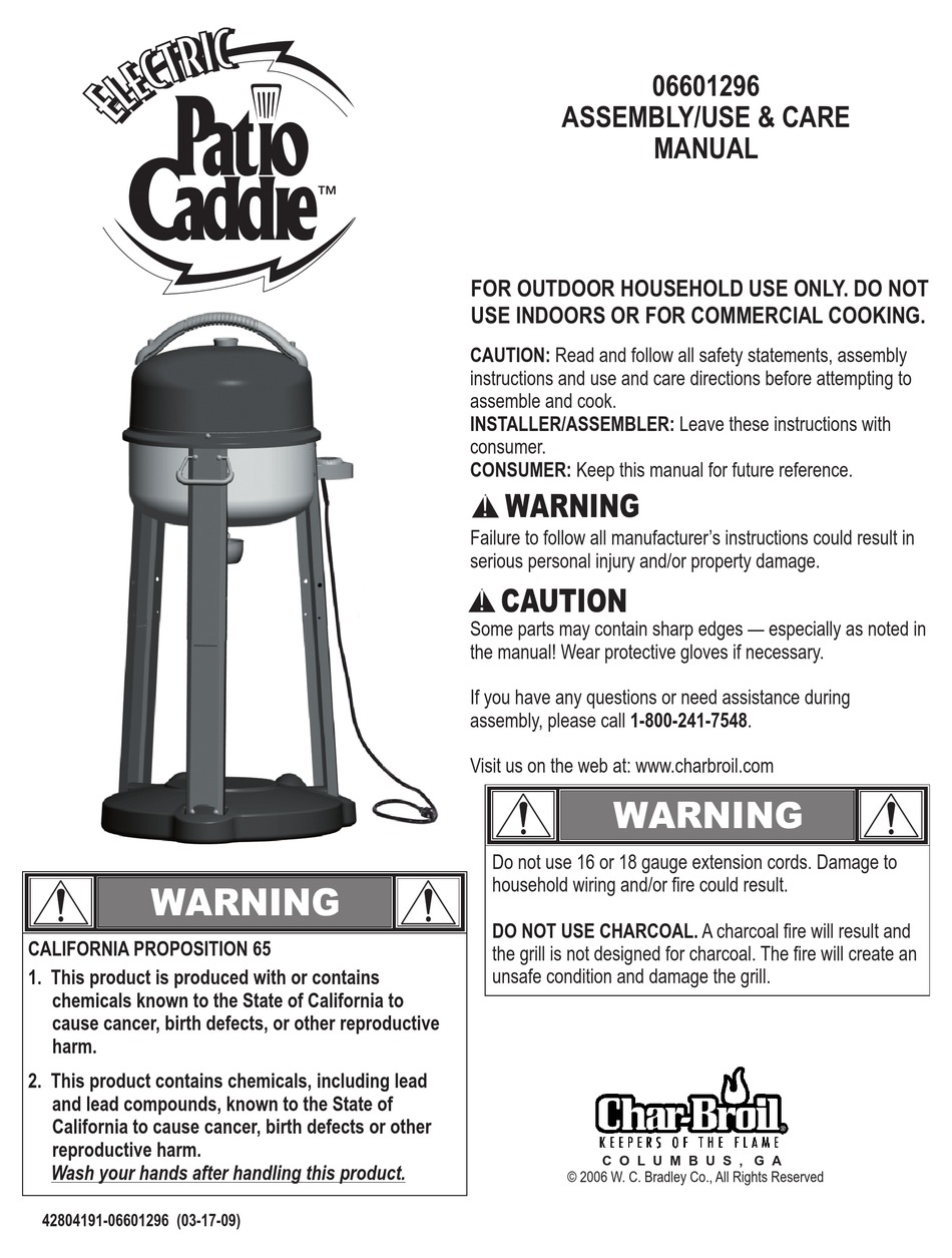 char broil patio caddie assembly use
