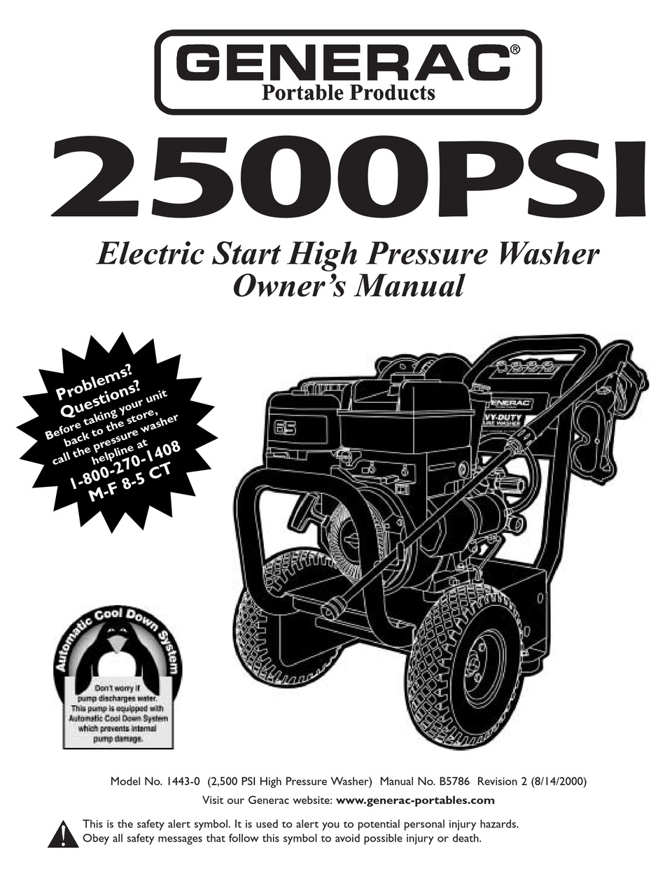 GENERAC PORTABLE PRODUCTS 2500PSI OWNER'S MANUAL Pdf