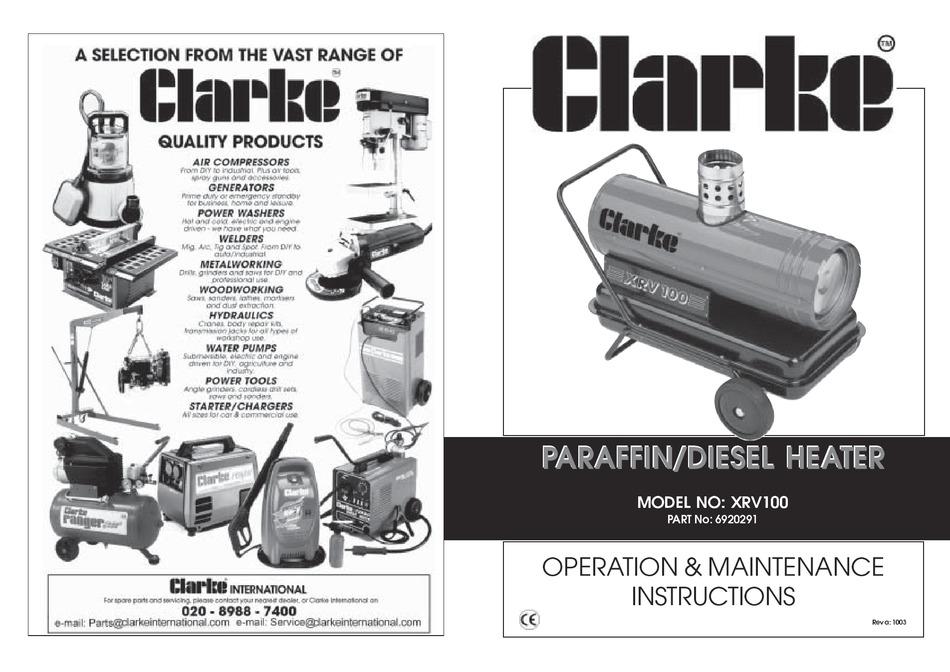CLARKE XRV100 OPERATION AND MAINTENANCE INSTRUCTIONS Pdf
