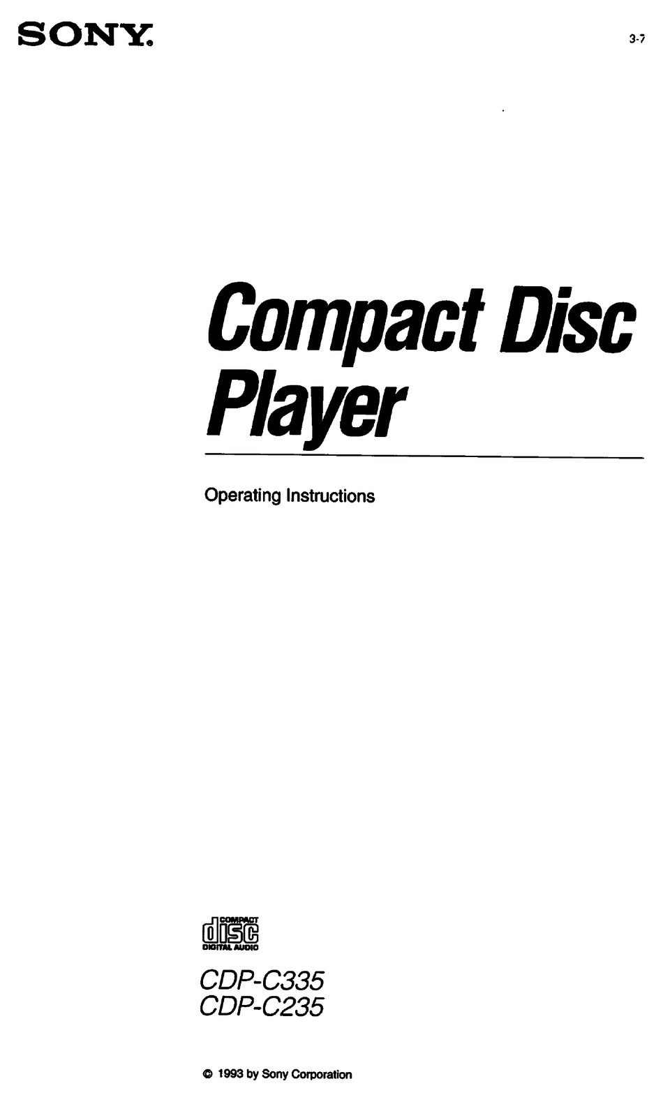 SONY CDP-C335 OPERATING INSTRUCTIONS MANUAL Pdf Download