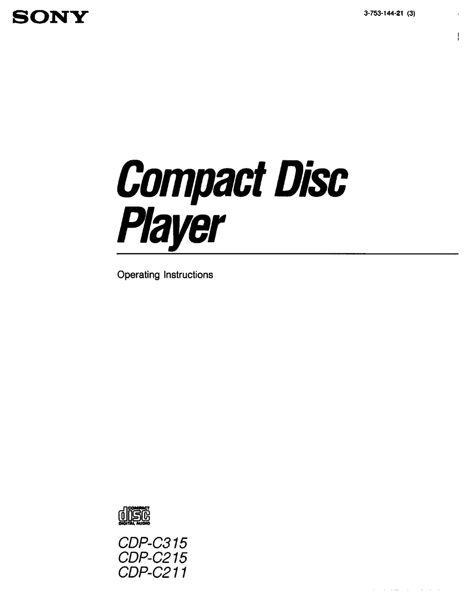 SONY CDP-C315 OPERATING INSTRUCTIONS MANUAL Pdf Download