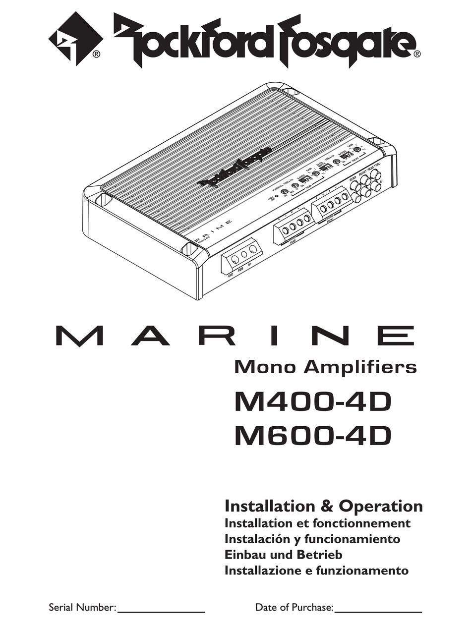 ROCKFORD FOSGATE MARINE M400-4D INSTALLATION & OPERATION