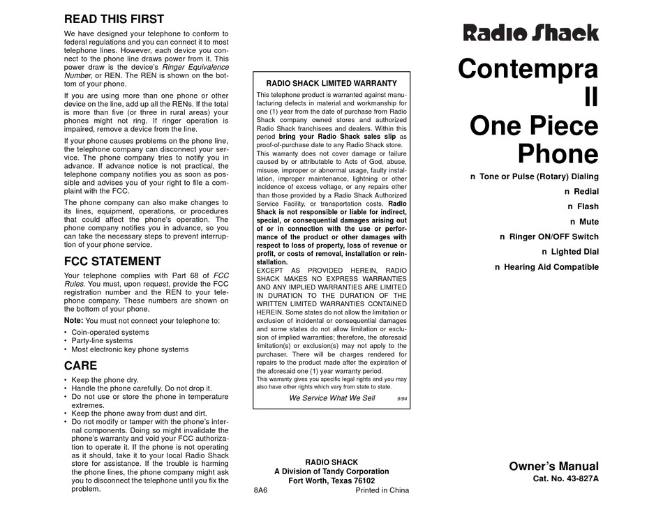 RADIO SHACK CONTEMPRA II OWNER'S MANUAL Pdf Download