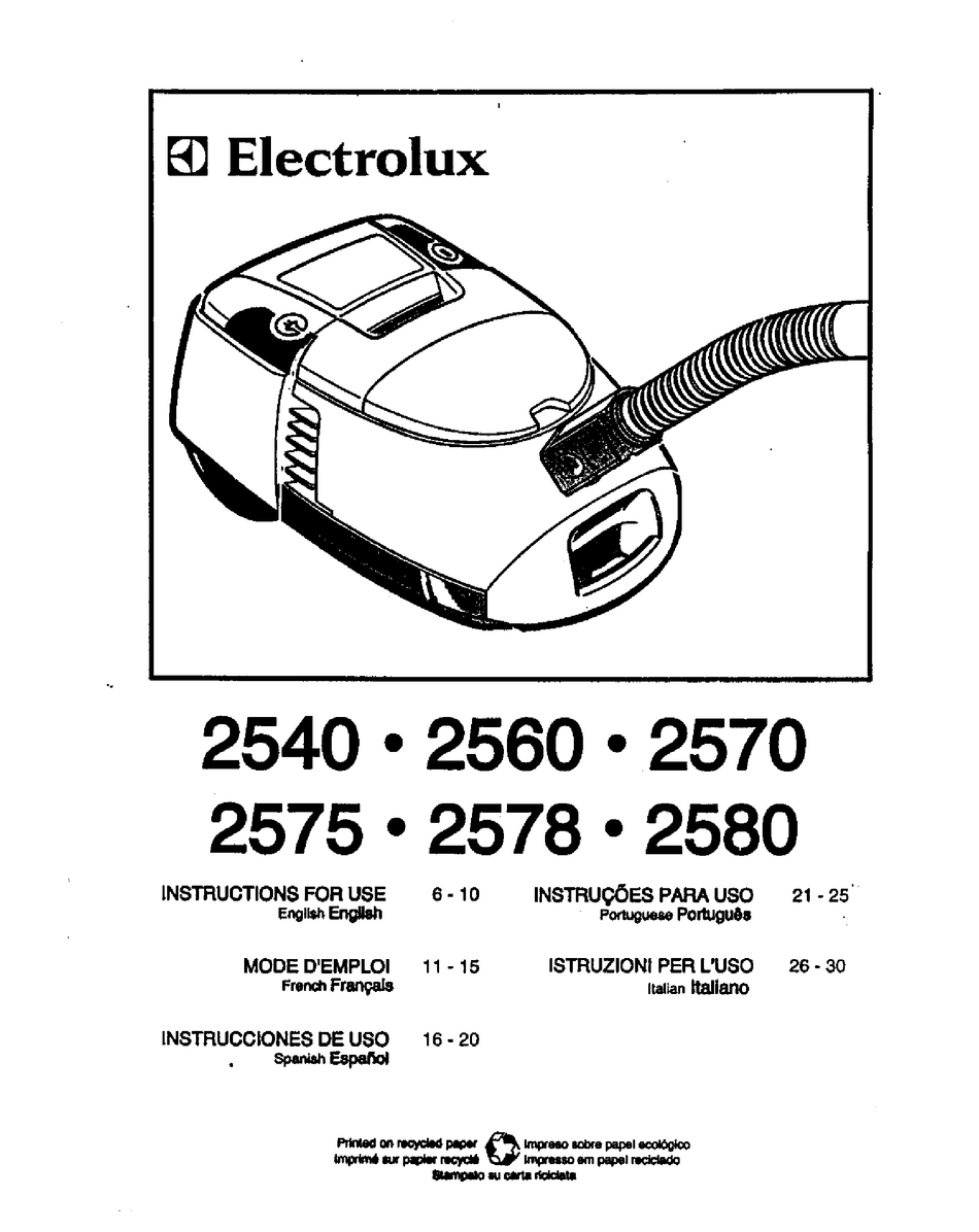 ELECTROLUX 2540 INSTRUCTIONS FOR USE MANUAL Pdf Download