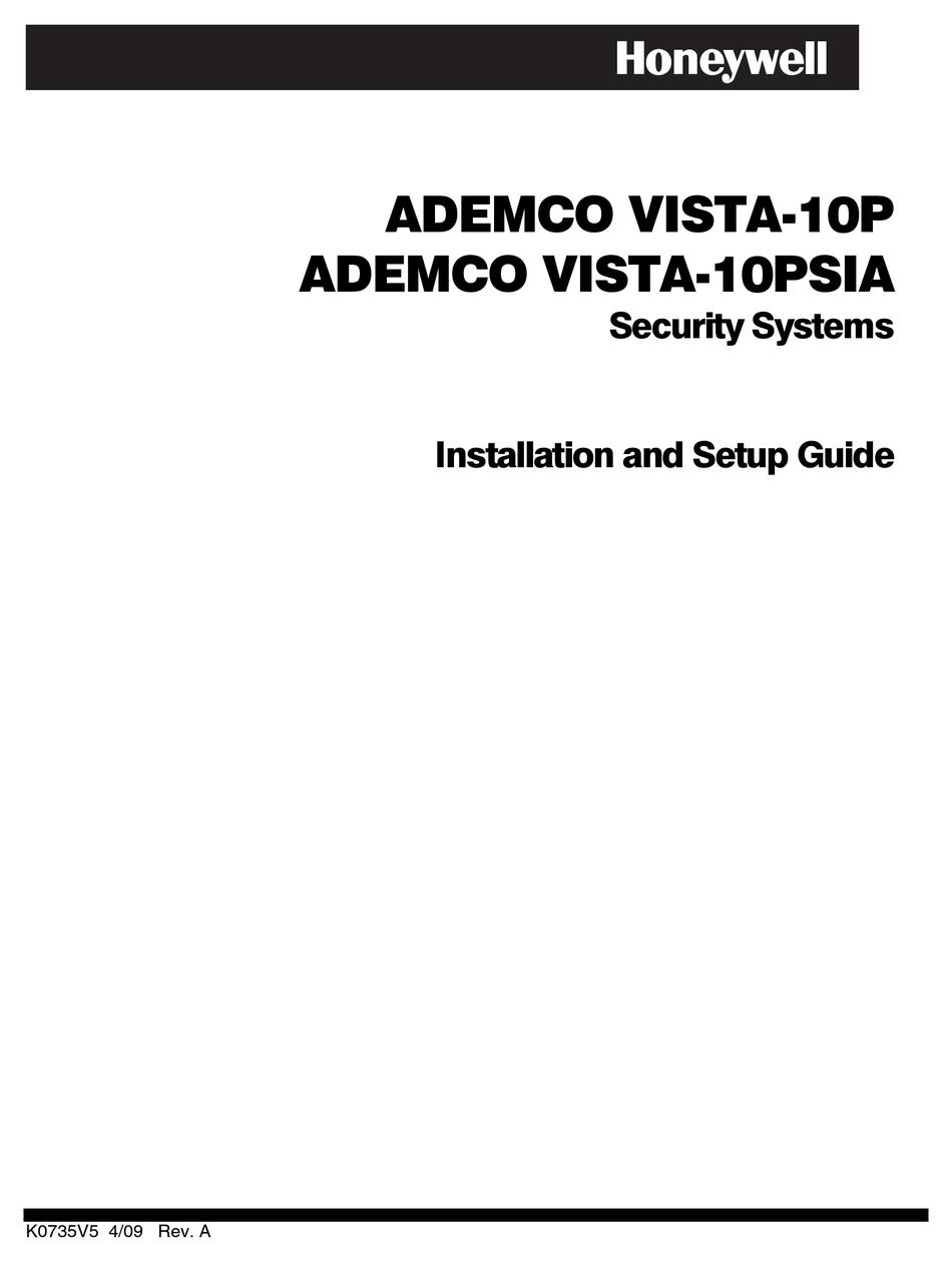 HONEYWELL ADEMCO VISTA-10P INSTALLATION AND SETUP MANUAL