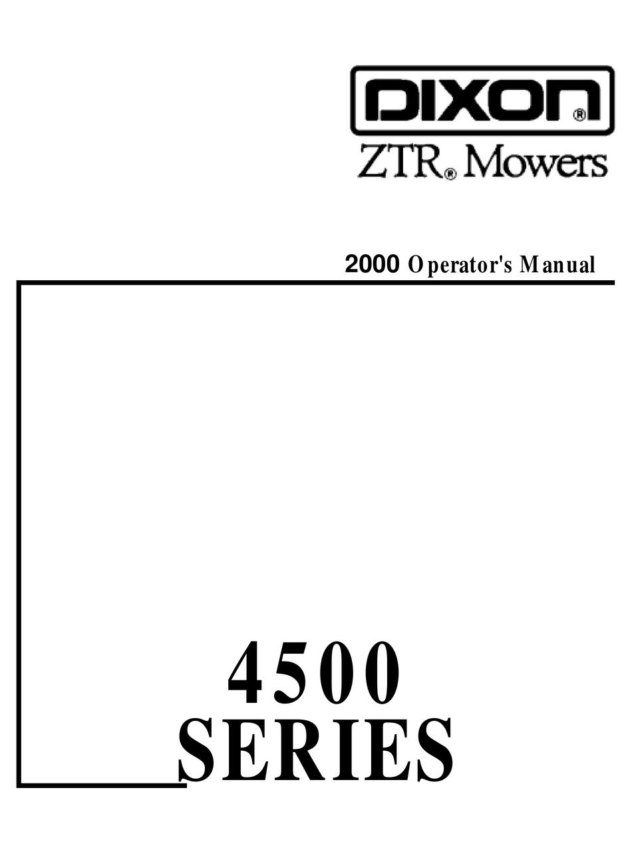 DIXON ZTR 4500 SERIES OPERATOR'S MANUAL Pdf Download